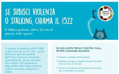 Se subisci violenza o stalking, chiama il 1522